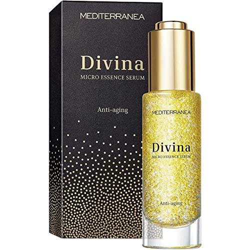 Mediterranea - Divina Micro Essence - Sérum Visage Anti-Âge pour une Peau Tonique, Compacte et Lumineuse - à l'Extrait d'Helichryse, l'Extrait de Lys Blanc et à l'Huile d'Olive - 30 ml