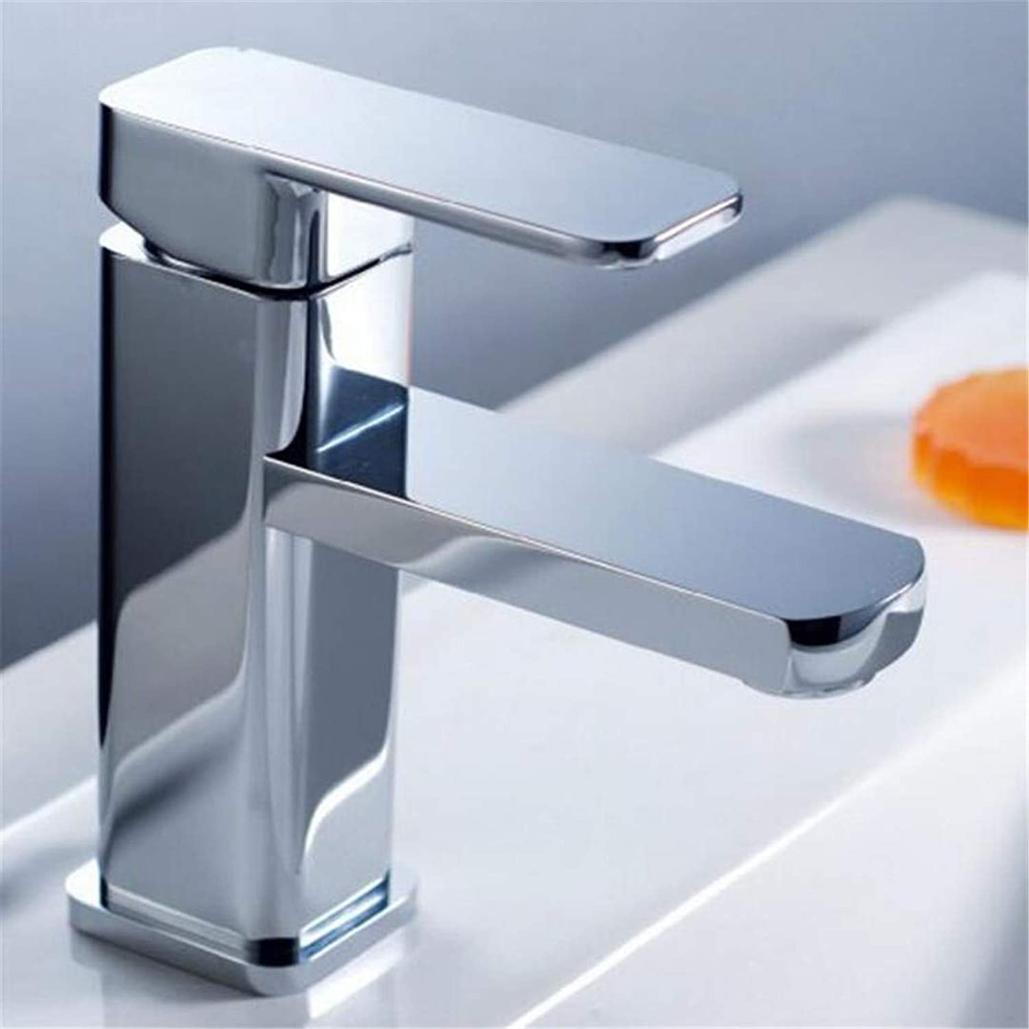Bathroom Sink Bath Faucet Brass Wash Table Washbasin Basin Bathroom Cabinet Square Single Hole Basin Faucet Cold and Hot Faucet.