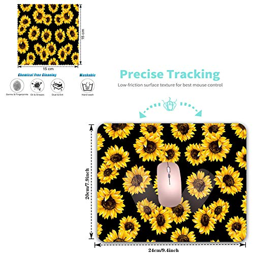 Mouse Pad,Sunflower Design Rectangular Non-Slip Rubber Mouse Pad and Microfiber Glasses Cloth, Mouse Pad for Laptop,Computers & Office (9.4 x 7.87 x 0.1 Inch) Photo #5