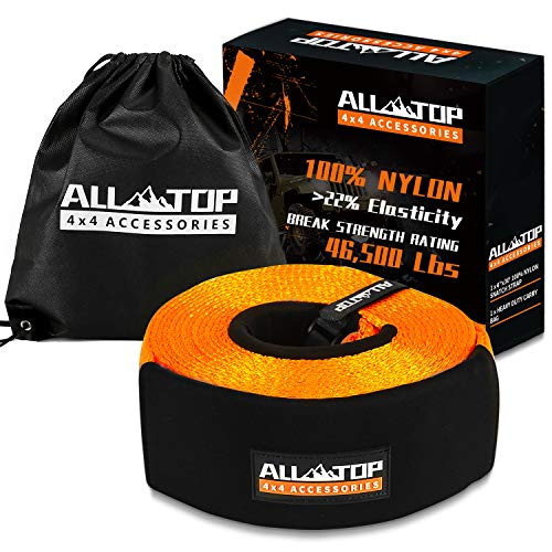 """ALL-TOP Extreme Duty Nylon Recovery Strap 4"""" x 30' - Super Duty Towing Snatch Strap (46,500 lbs) 100% Nylon and 22% Elongation +Triple Reinforced Loop Adjustable Protector Sleeve"""
