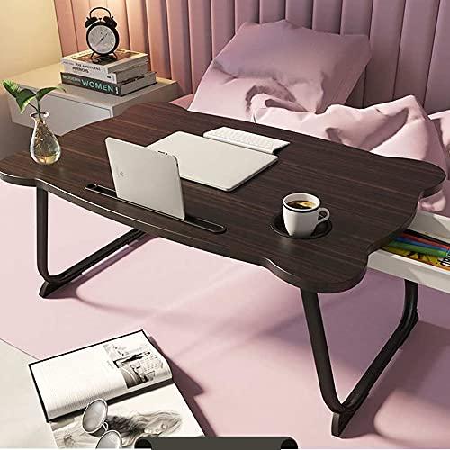 DearSnow Mesa de Estudio Plegable Multifuncional con Soporte para Ordenador portátil, Escritorio de Madera Plegable para Ordenador(Negro,Los 60 * 40 * 28cm)