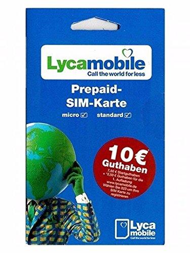 Lyca Mobile Carte SIM prépayée + 7,50 euros de crédit – Lycamobile
