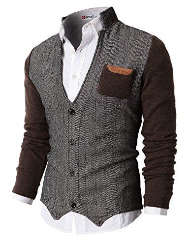 H2H Mens Cardigan Sweater of Knitted Sleeves Herringbone Brown US XL/Asia XXL (KMOSWL015)