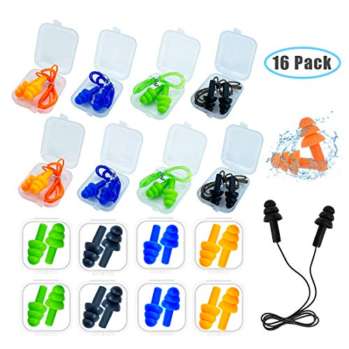 Ear Plugs for Sleeping16 Pairs Noise Canceling Ear Plugs Soft Reusable Silicone Earplugs Waterproof Noise Reduction Earplugs for ConcertSwimmingStudyLoud NoiseSnoring