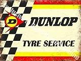 Dunlop Neumático Servicio Automovilismo Motor Retro Vintage Carreras Garaje Metal/Cartel De Acero Para Pared - 20 x 30 cm