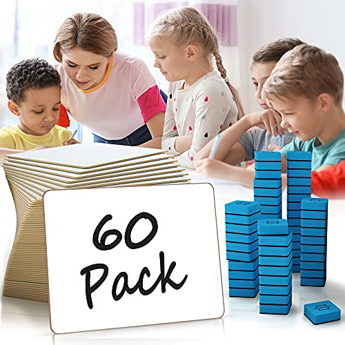 """Dry Erase Lap Boards White Boards - Super Value Pack of 9""""x12"""" Reusable Writing Pads for Kids - Bulk Case of 60 Small Whiteboards for Students Perfect Class Set - 60 White Board Erasers Included"""