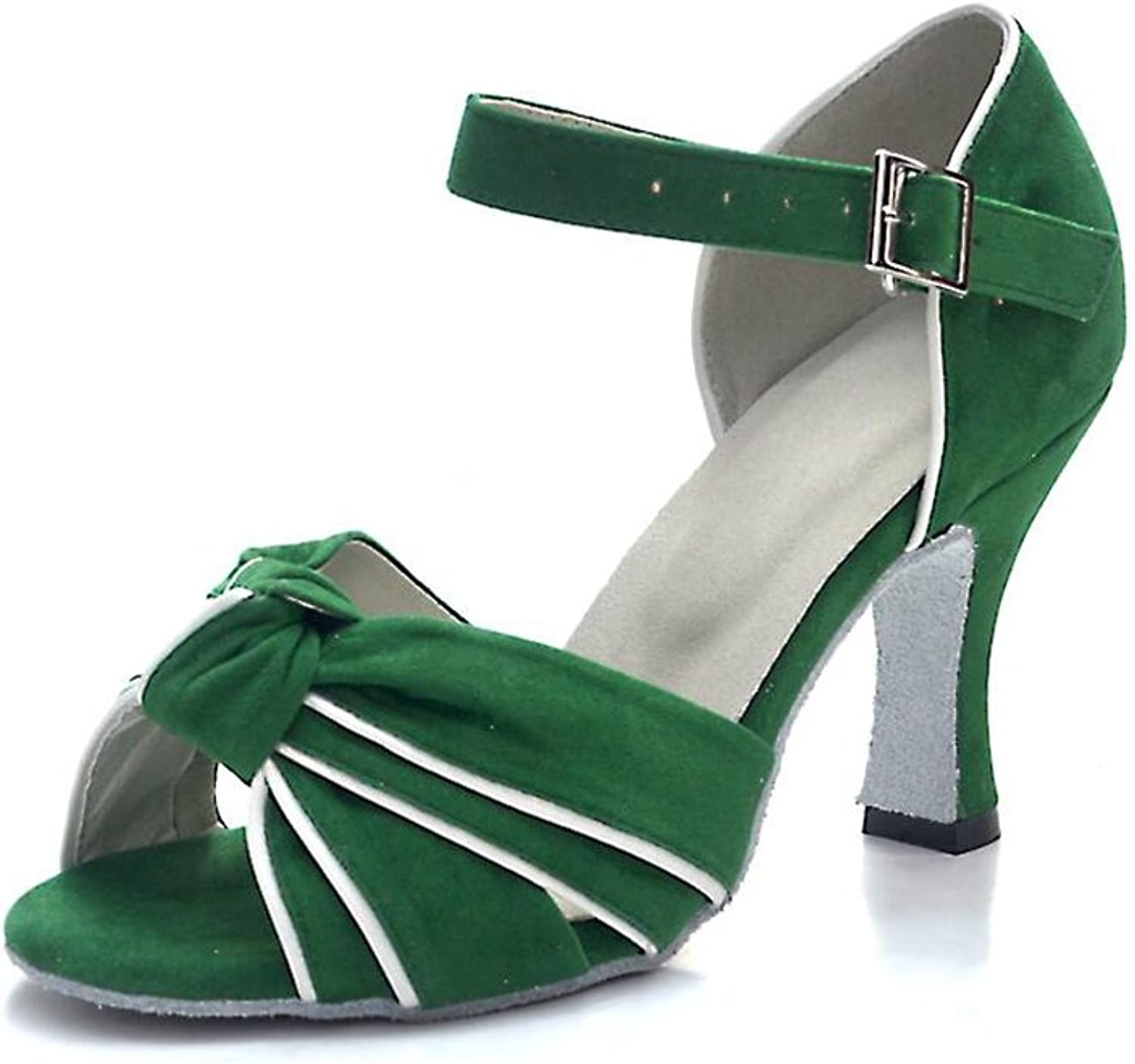 Women's Latin shoes Ballroom shoes Satin Sandal Indoor Buckle Heel Dance shoes Party & Evening Green (color   A, Size   36)