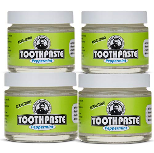 Uncle Harry's Peppermint Remineralizing Toothpaste Organic | Natural Whitening Toothpaste Freshens Breath & Promotes Enamel | Vegan Fluoride Free Toothpaste (4 Pack)