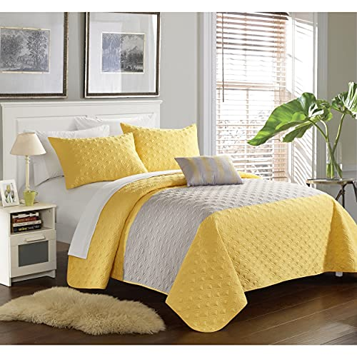 Chic Home Walker Yellow 8-Piece Bed in a Bag Quilt Set Queen