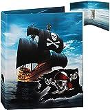 alles-meine.de GmbH großer A4 - Ordner / Ringbuch / Sammelordner - Pirat - Piratenschiff - Aktenordner - Ringordner für Dokumente / 2 Ringe - 6 cm breit - Mechanik - Schulordner ..