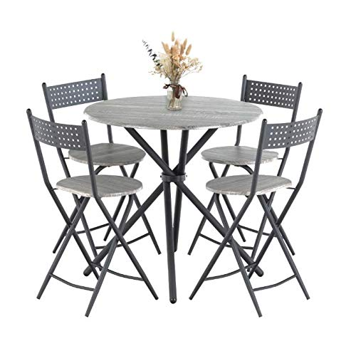 Mecor 5 Pcs Dining Table Set w/ 4 Folding Chairs, Mid-Century Vintage Round Coffee Table and Foldable Chairs with Wood Top and Metal Frame for Kitchen Patio Dining Room (Grey)