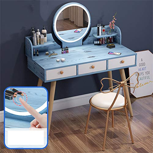 Best Deals! Makeup Vanity Table Set with LED Mirror with Touch Screen, Built-in 3 Color LED Light, D...