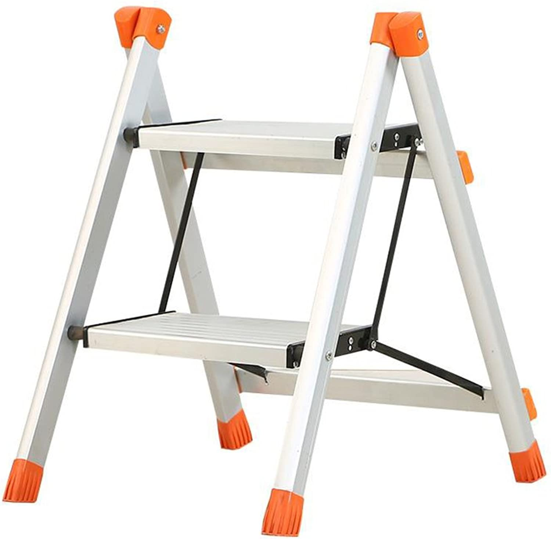 XJRHB Two-Step Ladder Aluminum Step Ladder Kitchen Ascend Folding Ladder Stool Shelf Flower Stand
