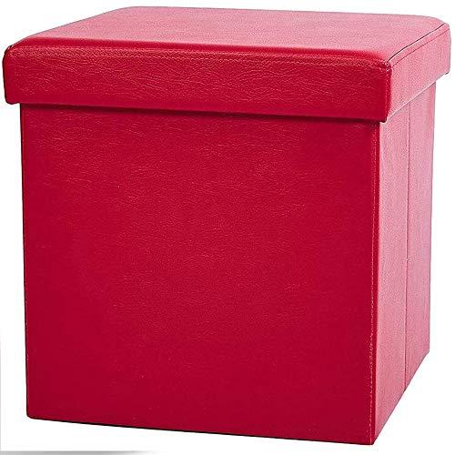 Zedelmaier Sitzhocker Sitzwürfel mit Stauraum Fußbank Truhen Aufbewahrungsbox faltbar belastbar bis 300 kg, Deckel abnehmbar, 38 x 38 x 38 cm (Dunkelrot)
