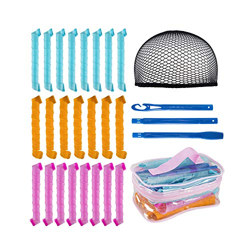 Hair Curlers Spiral Curls Styling Kit Hair Styling Rollers Tools with 1 Styling Hook 1 liner wig cap...
