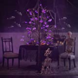 Twinkle Star 6FT Halloween Decorations Black Spooky Tree, Glittered with 96 LED Purple Lights and 24 Bats, 24V 3.6W Low Voltage Lighted Artificial Tree Decor for Indoor Holiday Party All Saints Day