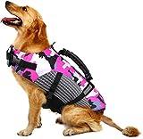 FR&RF, giubbotto di salvataggio per cani con galleggiamento, regolabile, con manico di salvataggio per nuoto e canottaggio, per cani di taglia piccola, media, grande, rosa, M