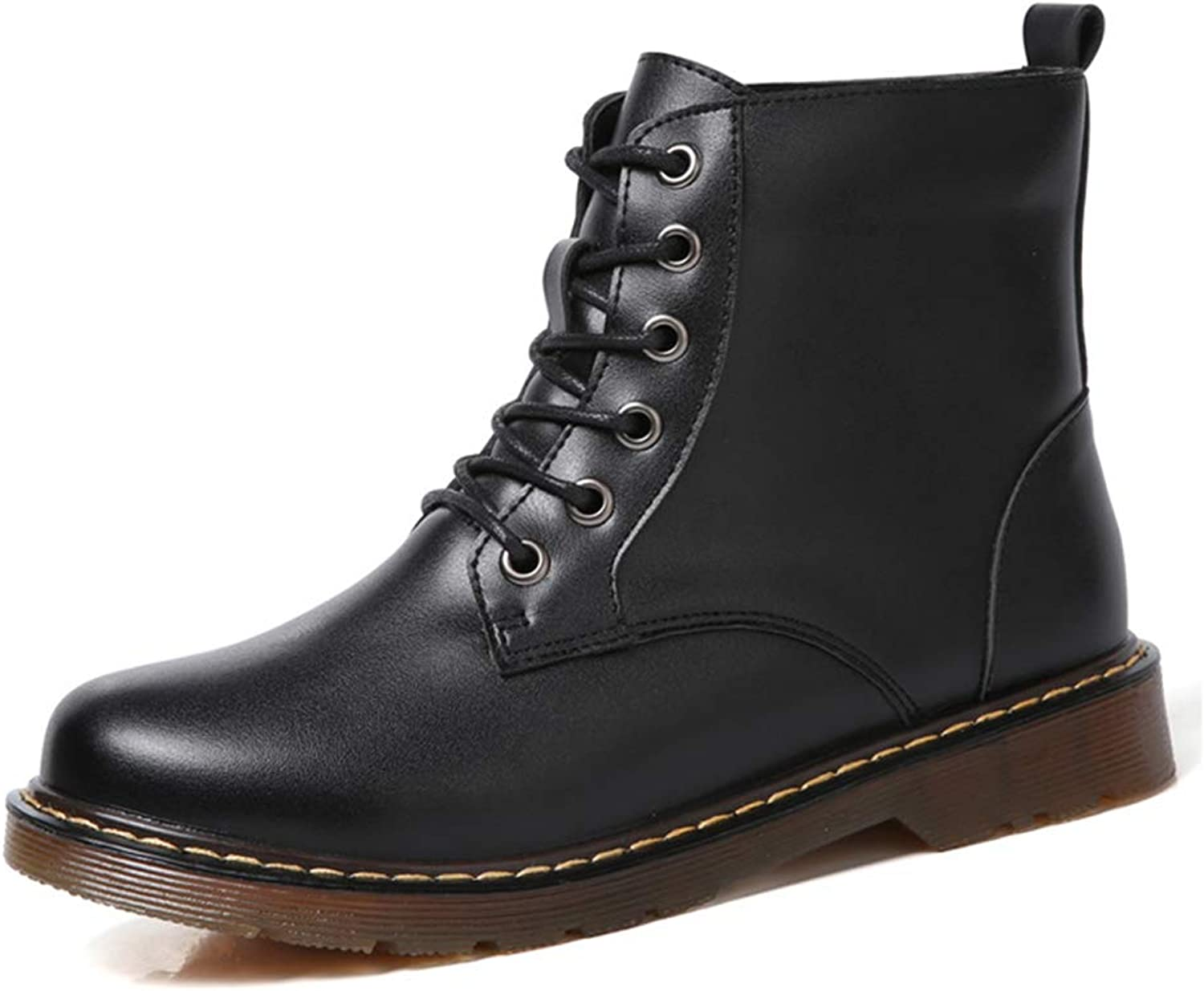 Women's Booties, Leather Plus Velvet Keep Warm Fashion Boots Ladies Fall Winter Flat Lace-up Martin Boots (color   Black, Size   39)