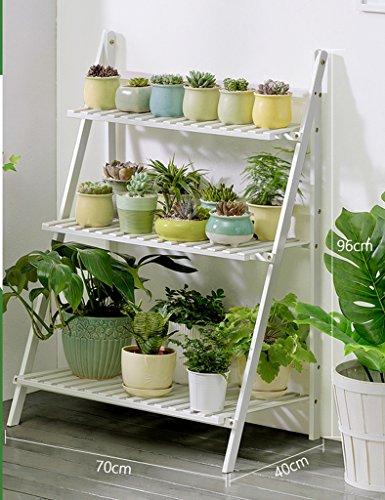 Plié 3 Niveaux Plante Échelle Bois Pot Étagère Fleur Rack Intérieur Extérieur Fleur Patio Affichage Blanc ( taille : 70*40*96CM )