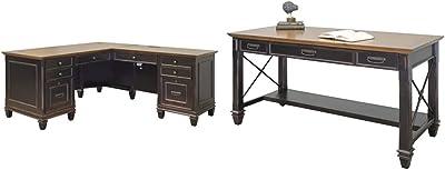 Martin Furniture Hartford L-Shaped Desk, Brown & Furniture Hartford Writing Desk, Brown