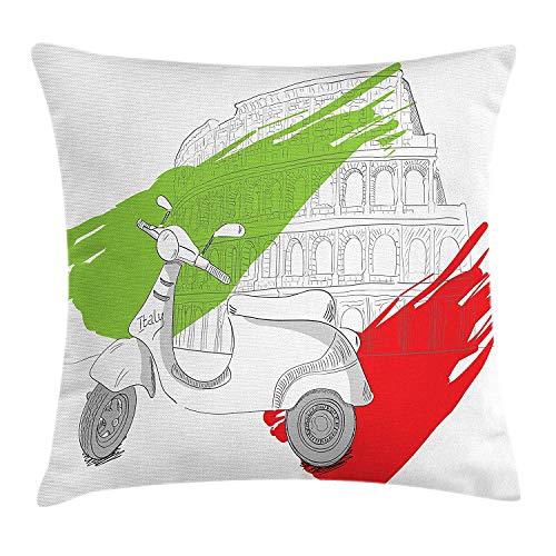 Italiaanse vlag gooien kussen kussensloop, kleine scooter in voorzijde van Colosseum met penseel vlag ontwerp, decoratieve vierkante Accent kussensloop, 18 X 18 inch, Vermilion groen wit