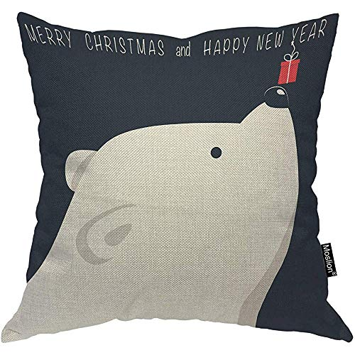 QDAS Bears Pillows Cute Polar Bear Face met gift Box voor winter New Year Pillow Cover Square Cushion Accent Home