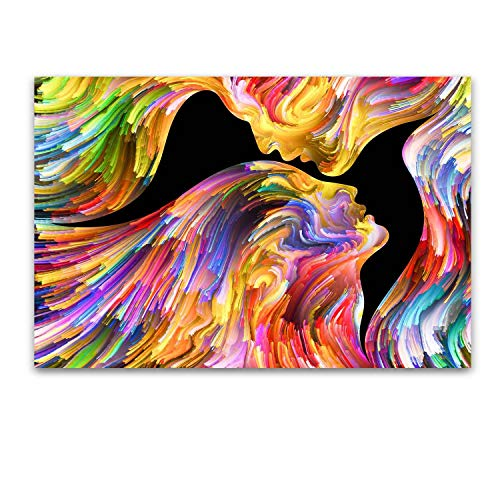 Startonight Glass Wall Art - Abstract Colorful Silhouettes - Tempered Acrylic Glass Artwork 24 x 36 Inches