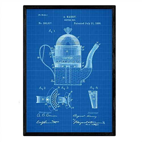 Nacnic Patent Poster met koffie 1e film met oud design patent in A3-formaat met blauwe achtergrond