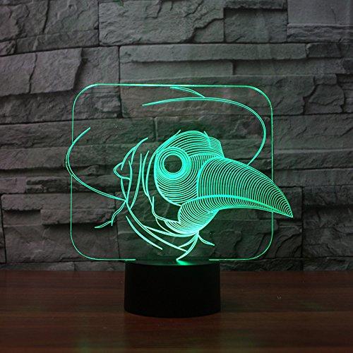 HHANN 3D Illusion Lampe Schnabel Optische Nachtlichter Tischlampe Kinder Nachttischlampe 16 Farben Ändern Schreibtischlampe Mit Usb-Kabel