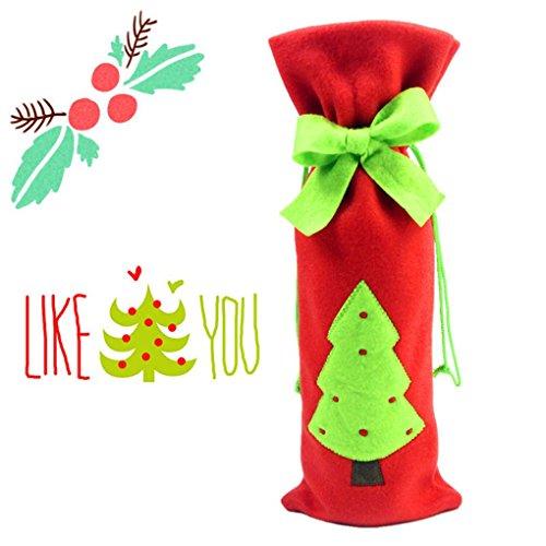 Qimao Bottiglia di vino Borse copertura vino rosso con grazioso regalo del legame di Natale Borse Set