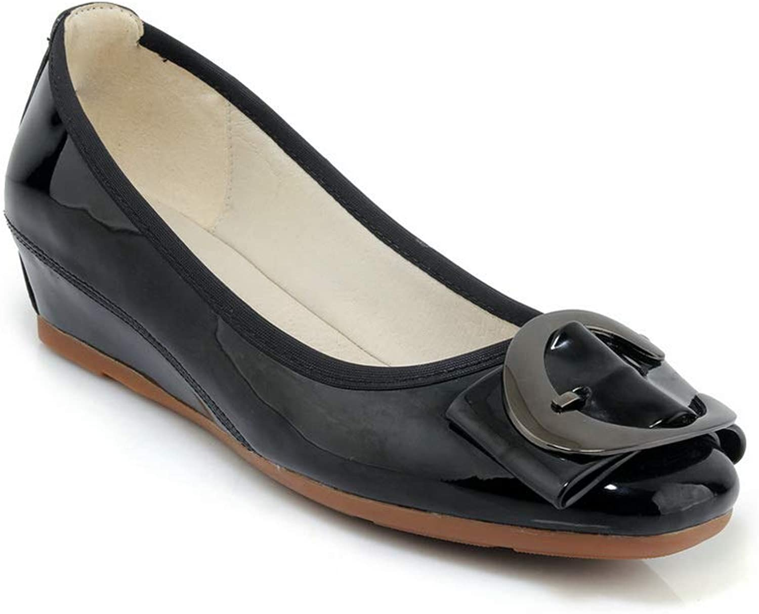 AN Womens Metal Buckles Wedges Patent-Leather Pumps shoes DGU00754
