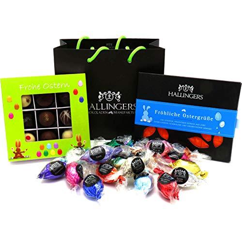 Hallingers Oster-Geschenk-Set 1 Schokolade, 9er Trüffel und 20 Ostereiern für Ostern (519g) - Easter Bag Green Blue (Genusstasche) - zu Ostern StayHome