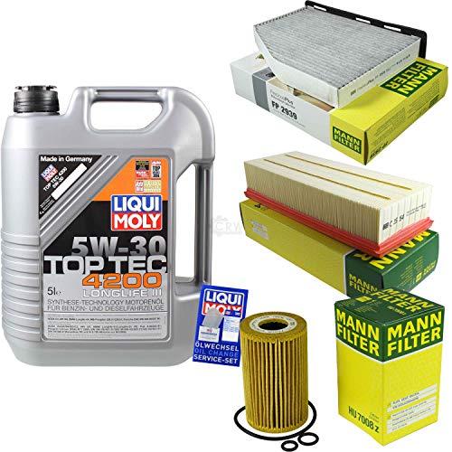 Filter Set Inspektionspaket 5 Liter Liqui Moly Motoröl Top Tec 4200 5W-30 MANN-FILTER Innenraumfilter Luftfilter Ölfilter