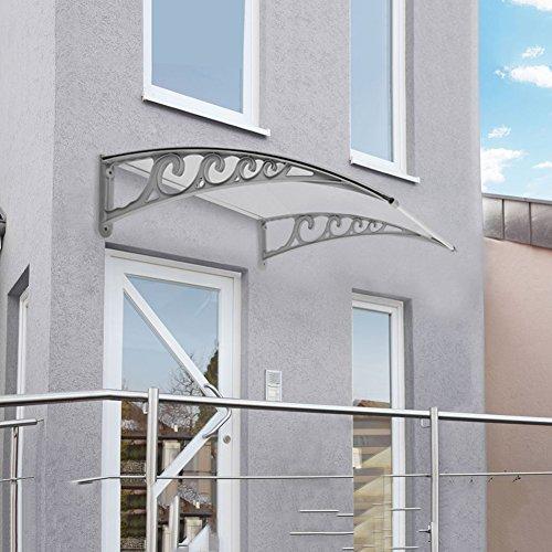 Pensilina Tettoia per Porta, in Alluminio, Tenda da Veranda Pensilina, per Porta o Finestra per Esterno, Disponibili in Diverse Misure (100 x 200 CM)
