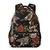 SXCVD Mochila informal,Bordado Vintage pájaros y pájaros jaula y flores de patrones,Mochila para portátil de negocios,Mochila de viaje de senderismo para hombres,mujeres,adolescentes