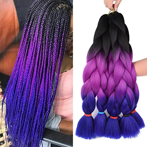 Kanekalon Jumbo Braiding Hair Synthetic Ombre Braids Hair Extensions 5Pcs Yaki Texture Twist Crochet Braid Hair 24 Inch 3 Tone 100g/pcs (24' 5pcs, black/purple red/blue)