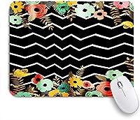 PATINISAマウスパッド 花の花黒と白のストライプの背景 ゲーミング オフィス最適 高級感 おしゃれ 防水 耐久性が良い 滑り止めゴム底 ゲーミングなど適用 マウス 用ノートブックコンピュータマウスマット