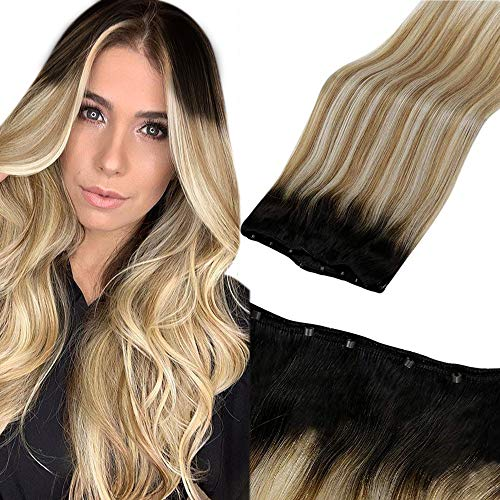 LaaVoo 16' Straight Micro Beads Weft Human Hair Extensions Ombre Balayage Off Black to Golden Brown and Platinum Blonde Micro Beaded Weft Hair Black Easy Weft Micro Beads Hair Weft 50G 12' Width