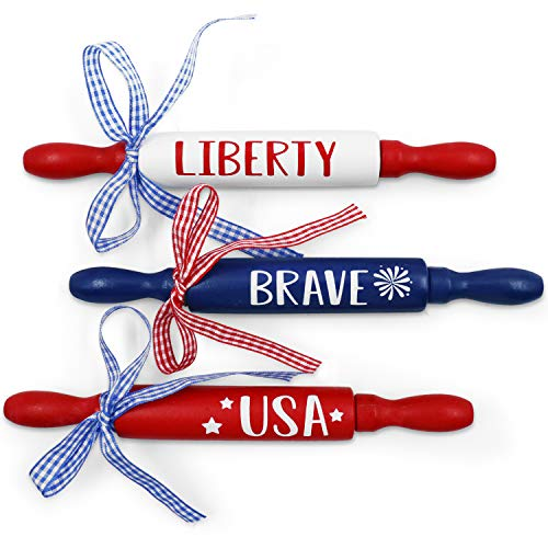 July 4th Patriotic Mini Rolling Pins Independence Day Decoration USA Brave Liberty Farmhouse Decorations Veterans Day Tiered Tray Decor Set of 3