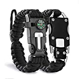 shuangjishan Paracord Knife Bracelet Adjustable Survival Cord Bracelets with Flint Fire Starter,Whistle,Compass & Scraper,Outdoor Multitool EDC Bracelet Camping Paracord for Men Gift (Black)