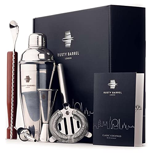 Rusty Barrel Mayfair Cocktail Gift Set   Cocktail Making Set Including Large Cocktail Shaker, Muddler, Strainer, Jigger, Pourer, Spoon & Recipe Booklet   All Accessories Presented in a Luxury Gift Box