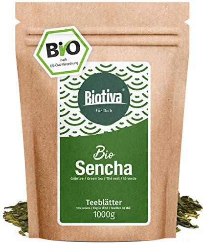 Orgánico Sencha té verde 1000 g- Top de estilo japonés Bio Sencha- precio máximo- suave, ligeramente cubierta de hierba, el receso de seco y floral- Bolsas y controlado en Alemania (DE-ÖKO-005)