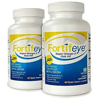 Fortifeye Vitamins Super Omega-3 Fish Oil Lemon Flavor Natural Triglyceride 900 EPA / 600 DHA Per Serv - 60 Day 120 Softgel Capsules
