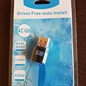 Aigital Adaptador WiFi USB, 600Mbps Driver Free Receptor WiFi Dongle Inalámbrico con Doble Banda AC,Seguridad Avanzada para PC/Desktop/Laptop,Soporte ...