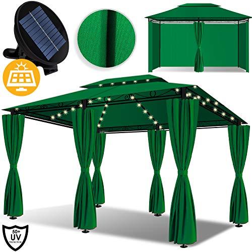 KESSER® - Pavillon 3x4m LED inkl. Seitenwände mit Reißverschlüsse, mit LED Beleuchtung + Solarmodul, Eckig Festzelt Partyzelt Gartenlaube Gartenzelt Gartenpavillon UV-Schutz 50+, Grün