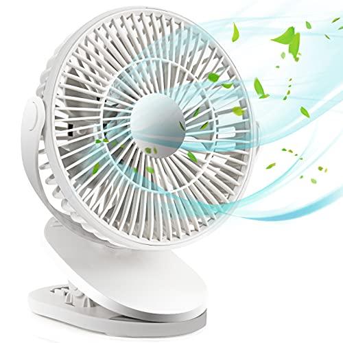 YiWeel Zeitliche Koordinierung Usb Ventilator mit 2400mAh Batterie, Clip Mini Tisch Ventilator 360 Grad Verstellbar, Leise Klein USB-Ventilator für Büro,Auto