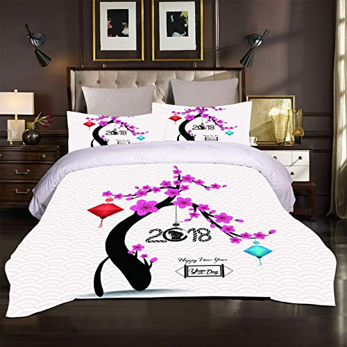 BHFCBD Bedding 260X240Cm- Creative Plum Tree Duvet Cover Set 3 Pieces Microfiber 3D Printed Hypoallergenic Quilt Bedding With 2 Pillowcase For Kids Girls Boys - Wrinkle And Fade Resistant