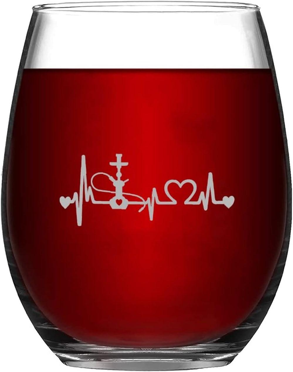 Vaso de vino divertido y chic con cachimba Heartbeat Lifeline sin tallo, grabado láser, para whisky, vino tinto y soda, regalo para amantes del vino, mamá, papá, amiga o ella
