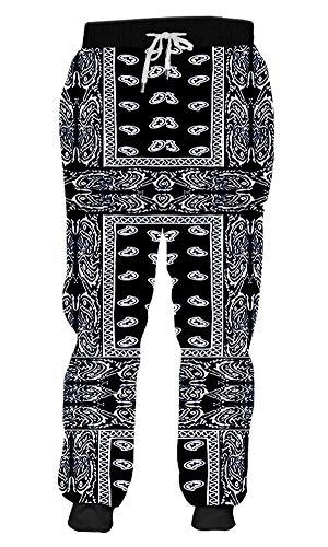 MANGGO GO Jogger Cool Black Bandana Paisly 3D Print Joggers Pants Bodybuilding Fintess Sweatpants