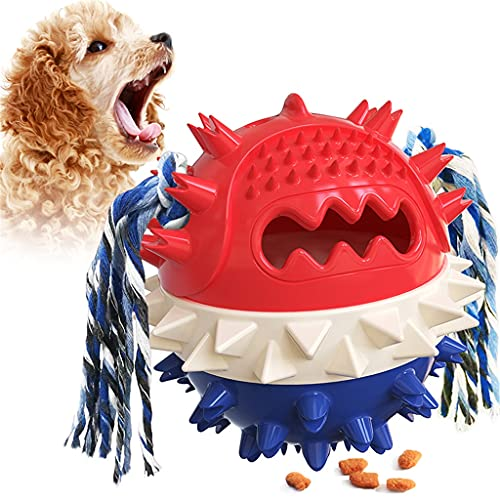 SJYDQ Fuerte IQ Dog Ball Dispensador de Comida Hinchable Juguetes para Masticar Perro Squeaker Flotante Juguetes para Mascotas Resistentes a Las mordeduras Cuerda para la dentición del Cachorro
